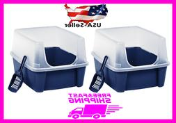 2 Cat Litter Box Extra Large Tall Open Top With Shield Scoop