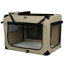 X-ZONE PET 3-Door Folding Soft Dog Crate, Indoor & Outdoor P