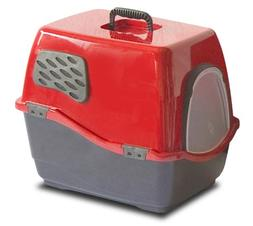 BILL 1F DELUXE ENCLOSED CAT PAN LARGE RUBY/SLATE