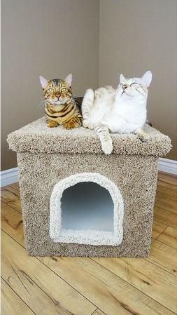 Carpet Cat Litter Box Furniture with Cover - Beige, Blue, Br