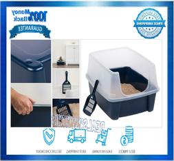 Cat Box Litter With Shield and Scoop Open-Top Navy Plastic P