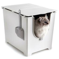 Cat Flip Litter Box Pet Toilet Scoop Reusable Liner Easy Cle