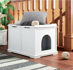 Cat House Extra Large White Litter Box Enclosure Furniture H