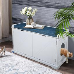 Cat Litter Box Furniture Hidden House Wood Storage Bench Enc
