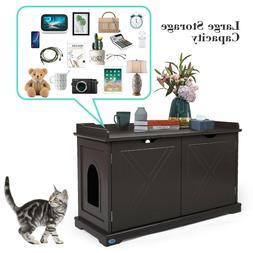 Cat House Litter Box Wooden  Cabinet Enclosure  Furniture Hi