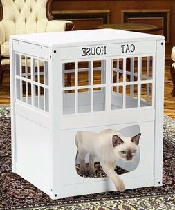 Cat House Side Table Nightstand Kitty Indoor Pet Crate Litte