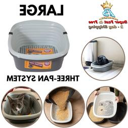Large Cat Sifting Litter Pan Slotted Tray 3 Part System Cont