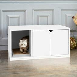 Cat Litter Box Bench Enclosure Furniture White Wood Wooden W