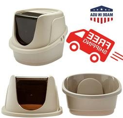 CAT LITTER BOX Closed Hooded Toilet House With Top Cover No