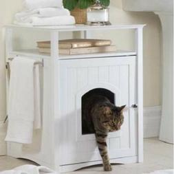 Cat Litter Box Cover  or Nightstand Pet House Wood White