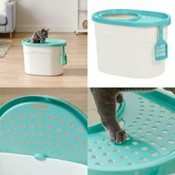 Cat Litter Box Deep Large Top Entryway Rounded Shape Filtere