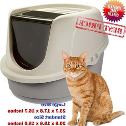 cat litter box enclosed pan hooded jumbo