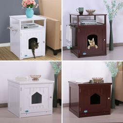 Cat Litter Box Enclosure Hidden End Table Nightstand Pet Hou