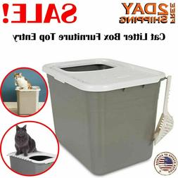 Cat Litter Box Furniture Top Entry Large Box Covered For Cat