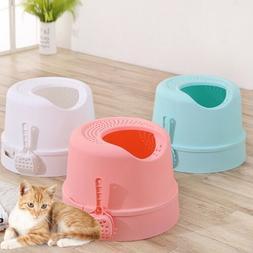 Cat Litter Box Hollow Hooded Pet Kitten Toilet House Pan Tra
