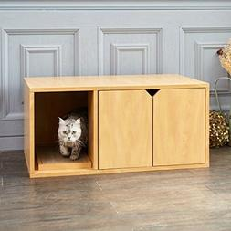 Cat Litter Box Home House Self Enclosed Wood Cabinet Kitty K