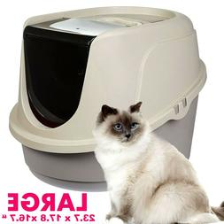 Cat Litter Box Hooded House Large Odor Resistant Enclosed SU