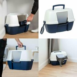 Cat Litter Box Large Hooded High Sides Lids Flap Entry Door