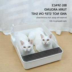 Cat Litter Box Tall Large Open Top With Shield Scoop Pet Enc