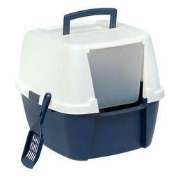 Cat Litter Box With Lid Scoop Flap Entry Door Navy Blue For