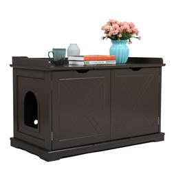 Cat Litter Box Wood Cabinet Bench Enclosure Hidden Toilet Ho