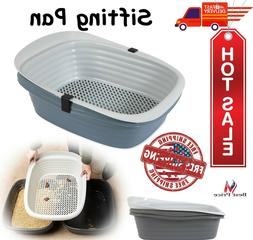 Cat Litter Pan Large Self Sifting Box Clean Slotted Tray No