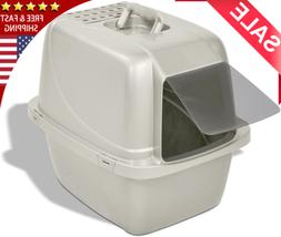 Cat Pan Litter Box Covered Tray Kitten Large Enclosed Hooded