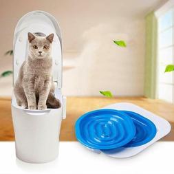 Cat Toilet Training Seat Kit Pet Cleaning Lavatory Tray Self