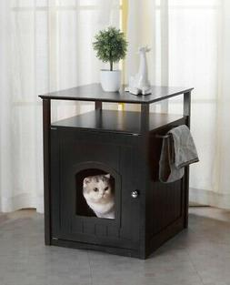Cat Washroom Litter Box Cover / Night Stand Pet House in Bla