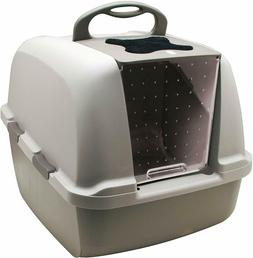 CATIT Jumbo Hooded Cat Litter Pan - Warm Gray - Mobile box f