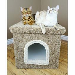 NEW Cat Condos Litter Box Carpeted Enclosure Large Brown