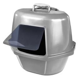 Van Ness Corner Enclosed Cat Pan, Silver, Large