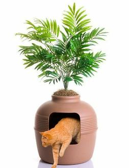 Covered Hidden Cat Litter Box with Decorative Planter By Goo