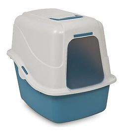 Petmate DELUXE HOODED CAT LITTER PAN Raised Back w/ Microban