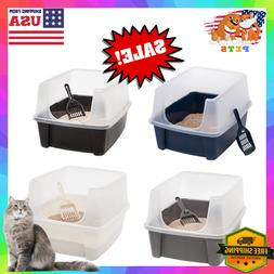 Enclosed Cat Litter Box Extra Tall High Sided Open Top Large