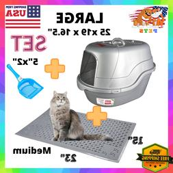 Enclosed Covered Cat Litter Box With Lid, Scoop & Mat  US