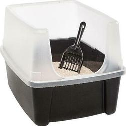 Extra Tall Open-Top Cat Litter Box with Hooded Shield Cover