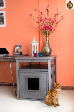 Hidden Cat Litter Box End Table Home Wood Pet Furniture Sofa