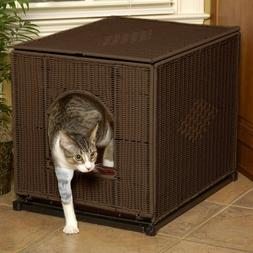 Hidden Kitty Litter Box Cover Enclosure Crate Wicker like Ex