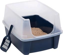 High-Sided Cat Litter Box Durable Plastic Litter Box Withsta