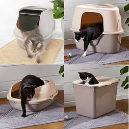 HOODED CAT LITTER BOX Pet Covered Toilet Extra Large Cats En