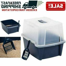 Hooded Cat Litter Box with Scoop Covered Tray Kitten Enclose