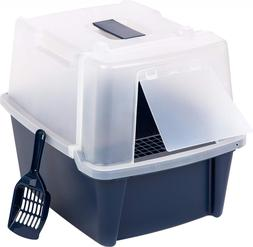 IRIS Large Split-Hood Litter Box with Scoop and Grate, Navy