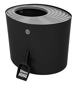 IRIS Top Entry Cat Litter Box with Cat Litter Scoop, Black &
