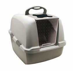 Catit Jumbo Hooded Cat Litter Pan, Warm Gray, smart home for