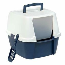IRIS Jumbo Hooded Litter Box with Scoop, Navy