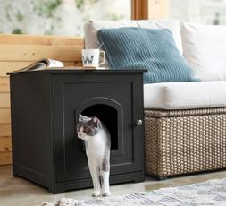 Kitty Litter Loo Box With Attractive Cover To Hide Away, Bla