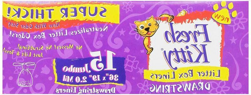 Fresh Kitty 15Ct Super Thick Jumbo Drawstring Litter Box Lin