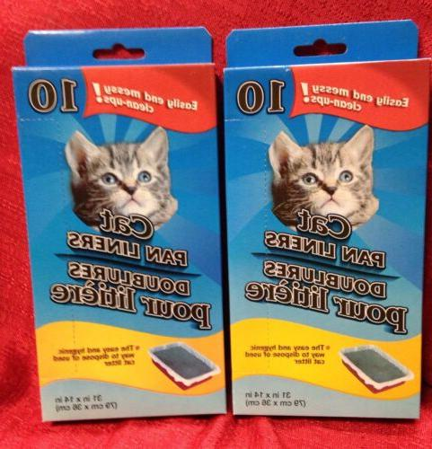 "2 Boxes Large Cat Pan Litter Box Liner Bags, 20 ct.  31"" X 1"