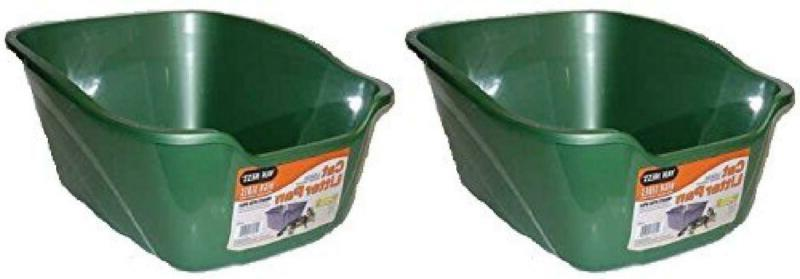 2 pack large high sides cat litter